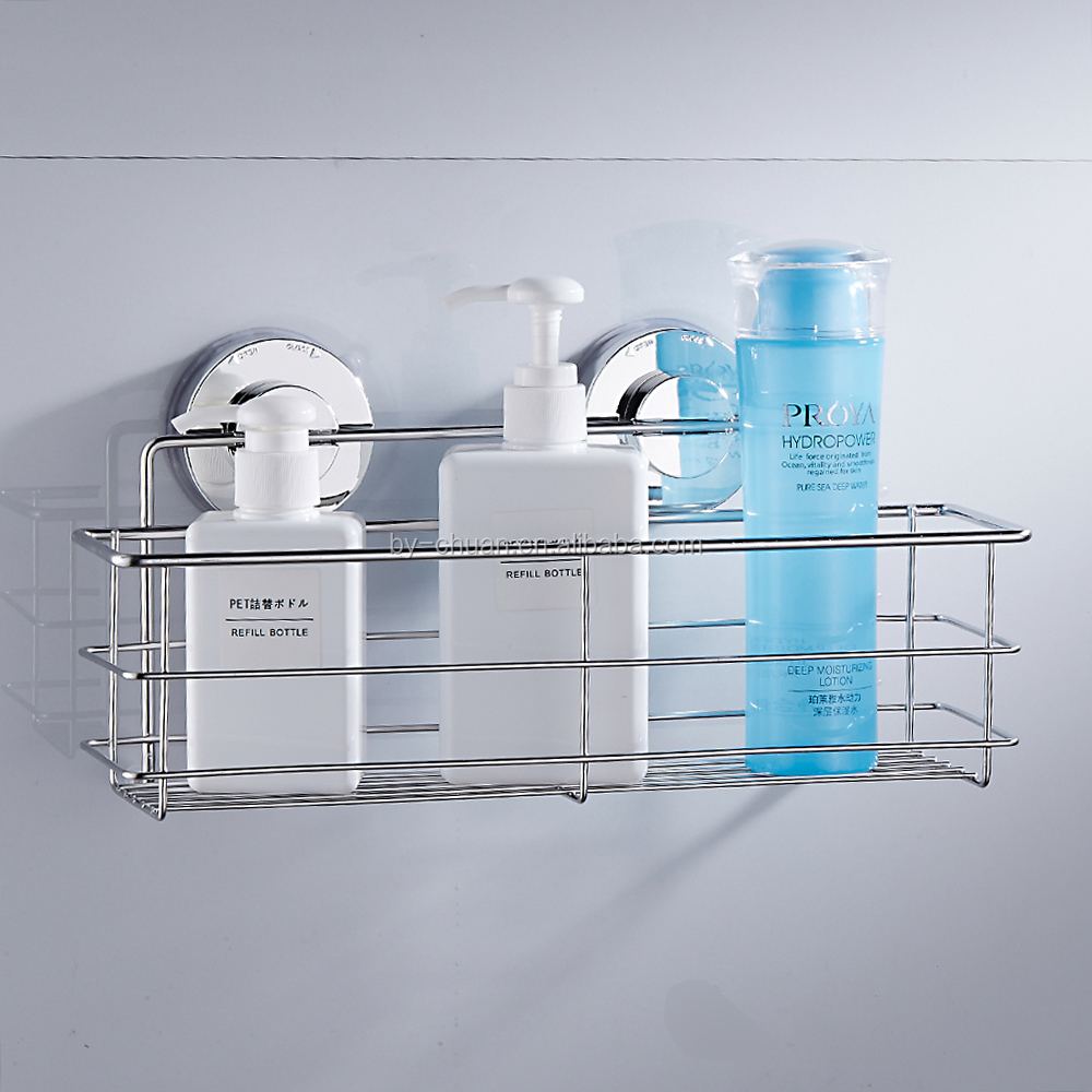 Stainless Steel Shelves Bathroom Shower Shelf Dual Sucker Wall Mount ...