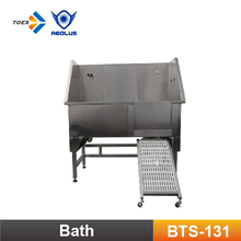 BTS-131 pet cleaning stainless steel dog grooming bath tubs with swing in/out ramp