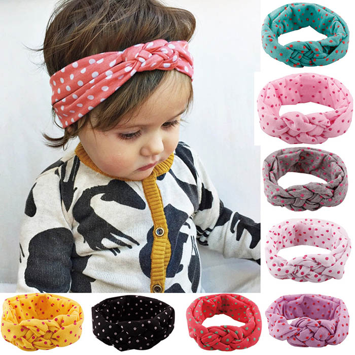 ZOGIFT Trendy Polka Dot Handcraft Chinese Knot Elastic Baby <strong>Headband</strong>