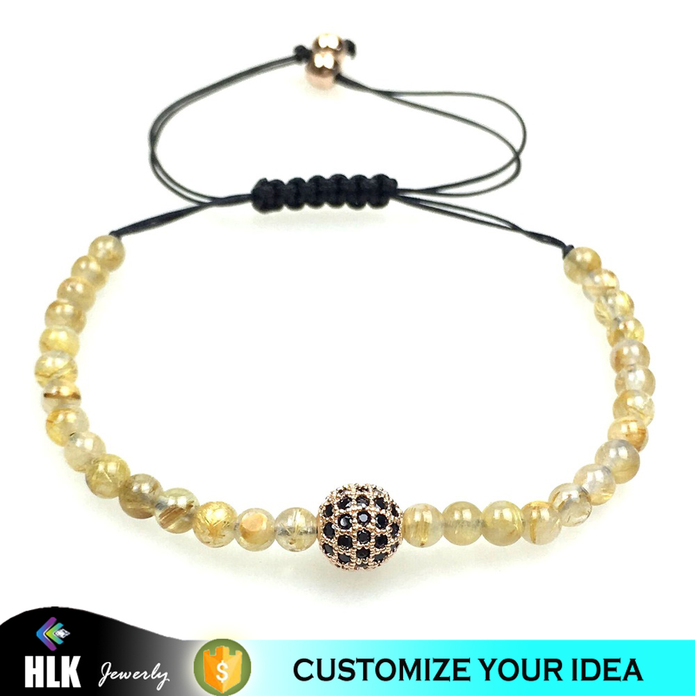 Healthy Fashion 18k Rose Gold Plated Cubic Zirconia Discos Ball Natural Rutile Quartz Macrame Lady Perfect Gift Jewelry Bracelet