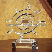 Big size crystal ship steer model for business gifts
