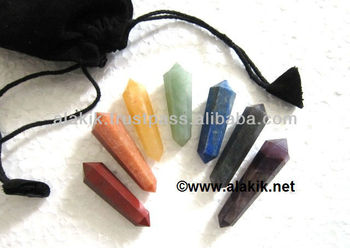 Double Terminated chakra pencil set with velvet pouch
