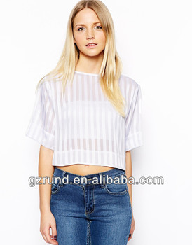 summer blouses women clothing 2014 Satin Stripe Crop Top china apparel suppliers Polyester model-cp203