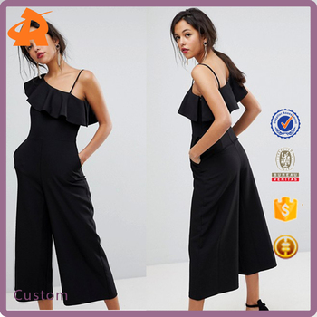china supplier custom evening one piece jumpsuit for women,new style girl chiffon black jumpsuit
