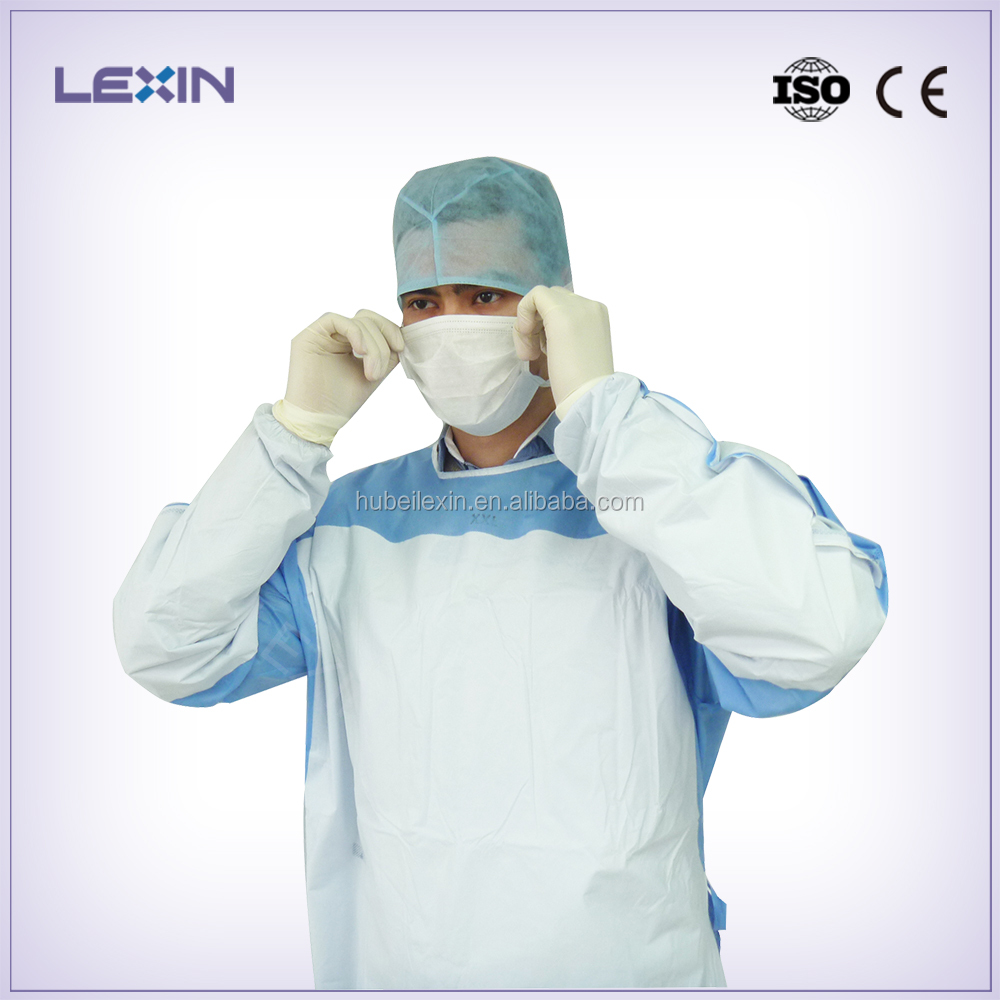 Sterile surgical gown reinforced