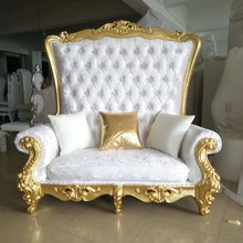 MMD29 Luxury Reception Carved Wooden Leather Fabric King Queen Royal Throne Indian Wedding Mandap Sofa