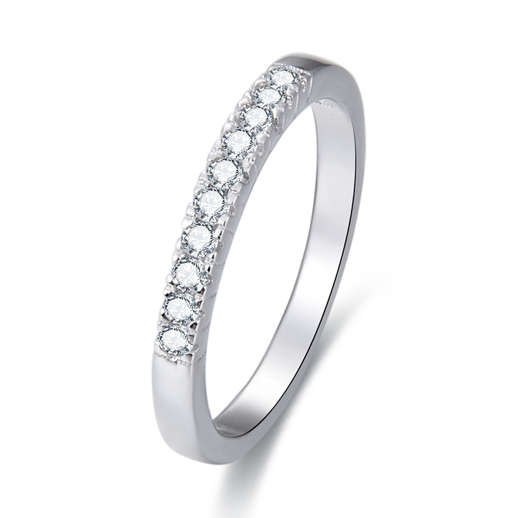 POLIVA Simple Design Princess Daily Wear China Cz Zircon Pave Diamond Infinity Eternity Ring <strong>Silver</strong> 925