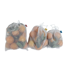 Reusable mesh produce bag for shopping and store food fruit vegetable can be mix packaging