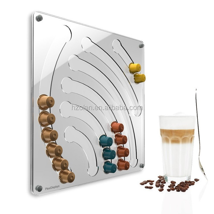 Wall Mounted Clear Acrylic Coffee Capsule Holder For Nespresso Capsules