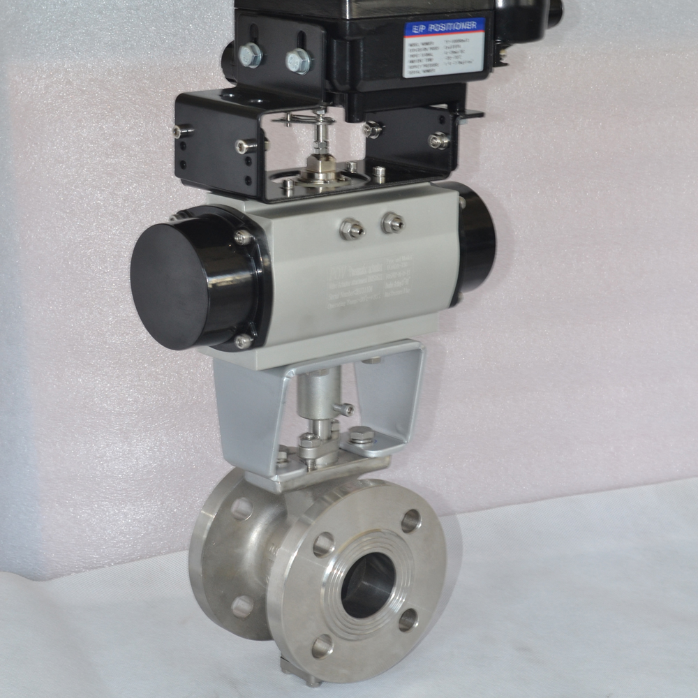 2 way high quality V shape cf8m stainless steel pneumatic actuated ball valve