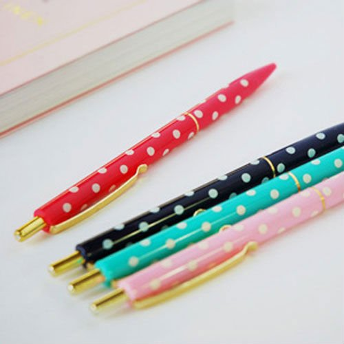 Korean Character Design Stationary Polka Dot Ball Pen