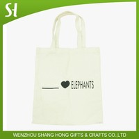 Wholesale Custom logo printed natural simple white cloth cotton bag for girls students library school promotion