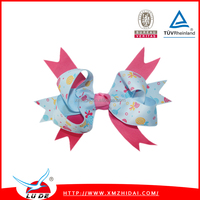 2015 Fashion custom printed Ribbon Hair Bows With hairband For Girls