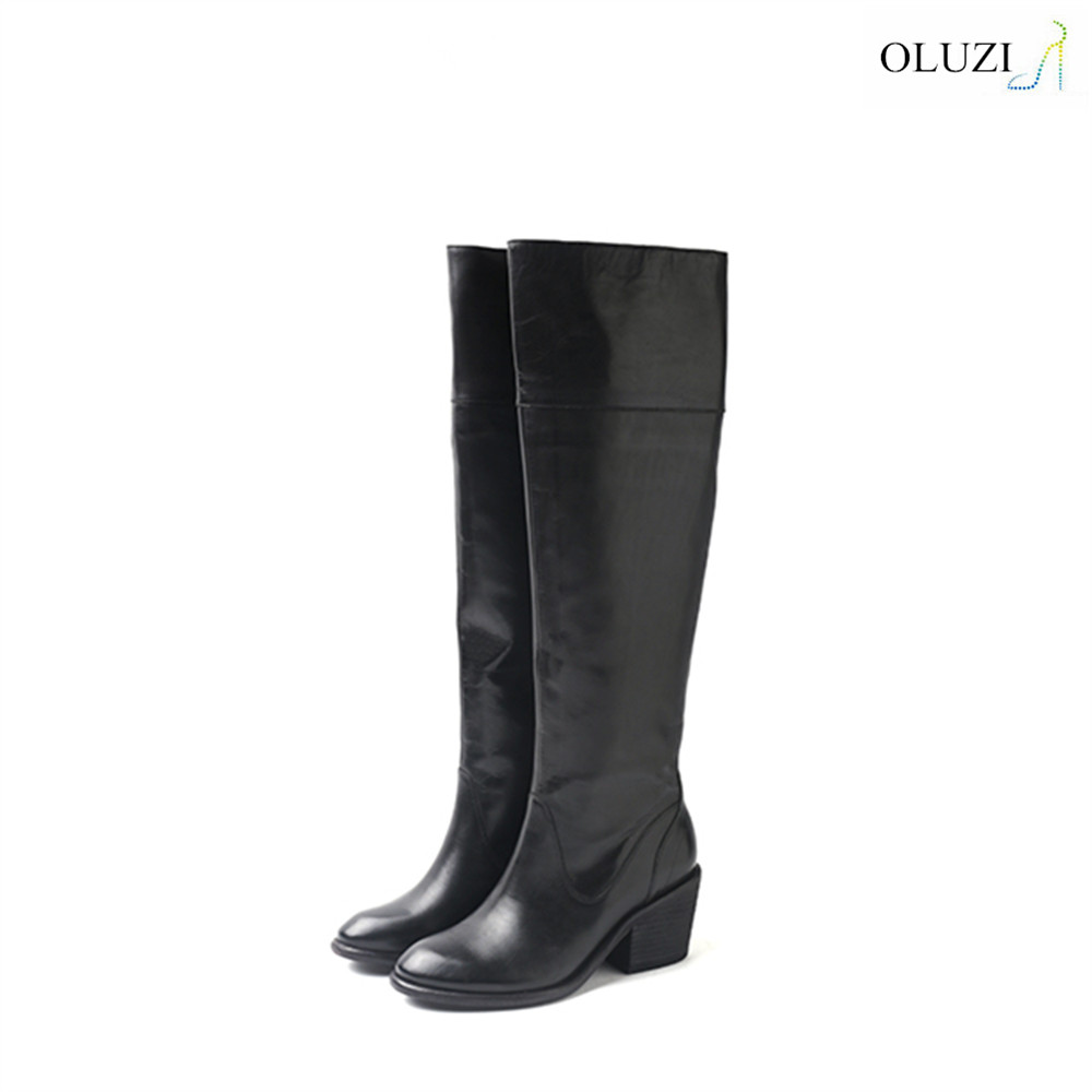 OLZB14 low block heel long brown leather horse boots designed for horse ridding dress wear