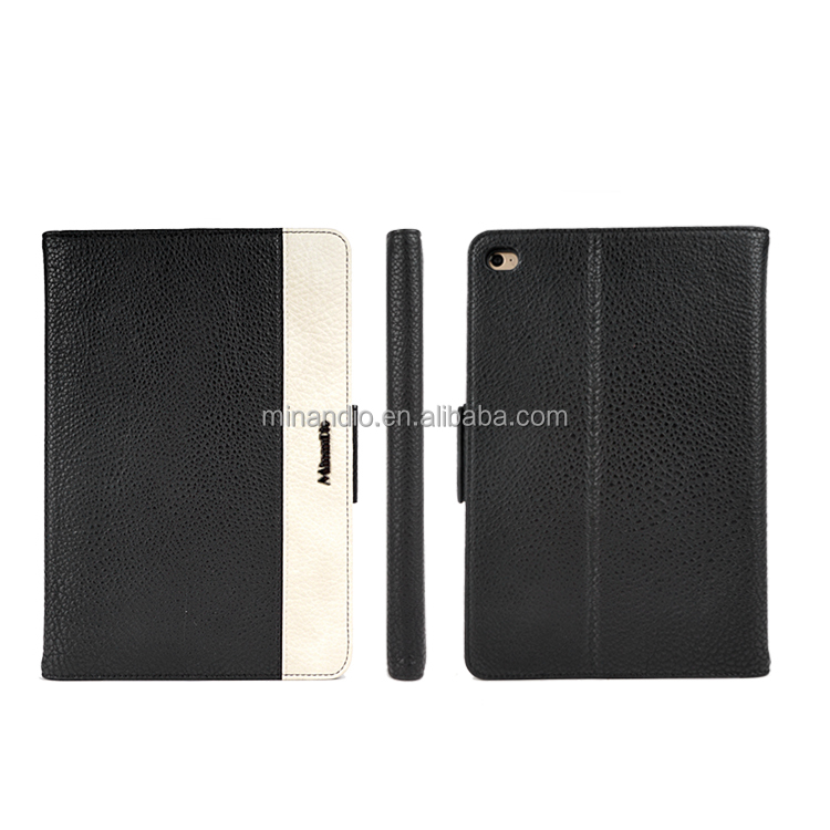 luxury litchi pu leather tablet folio cover case for ipad case