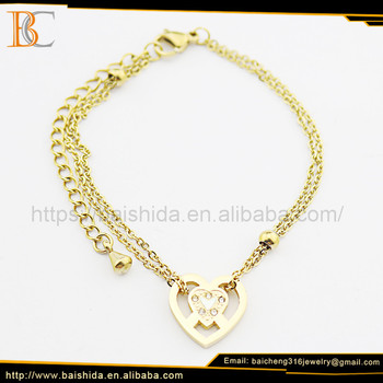 OEM/ODM 18k Gold Plated Stainless Steel Elegant Chain & Link Heart Bracelet Jewelry For Women