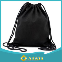 Custom printing black natural cotton drawstring backpack
