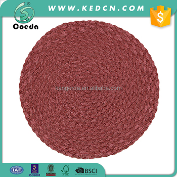 Handmade Braided Waterproof Round Polypropylene Placemats