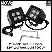 12V Black Lens Auto Fog Light 3D 12W Led Work Light For Jeep Truck Trailer Tractor