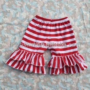 2017 hot sale 100% cotton red stripe shorts girls ruffle shorts girl boutique outfit double ruffled shorts