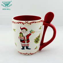 Best selling coated multicolor sublimation ceramic mug with spoon in handle for drinking
