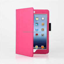 Hot pink leather smart cover folio stand case for ipadmini