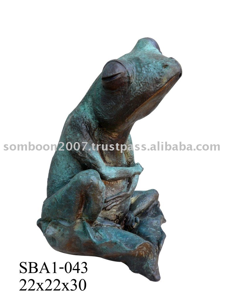 Frog Sit On Leaf (Bronze Sculpture & Bronze Statue)