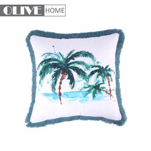 Cheap Home Pillow Waterproof Fabric Fringed Photo Print Cushion Covers Outdoor