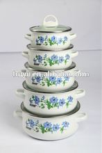673DBG 16-24CM enamelware enamel casserole cookware with glass lid