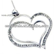 Large Double Open Heart Pendant Charm Necklace Elegant Trendy Fashion Jewelry