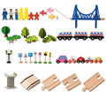 Popular product city wooden puzzle train track toy