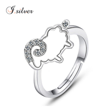 wholesale 925 sterling silver animal shaped sheep rings with cz stone R20014