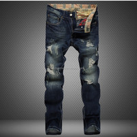 Free Shipping 2016 lastest design cheap fashion pencil denim ripped men jeans pants trousers for men 29-38