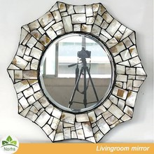 Norhs unique framed wall mounted artisan crafted art ocean sea shell mosaic mirror with high reflection image for living room