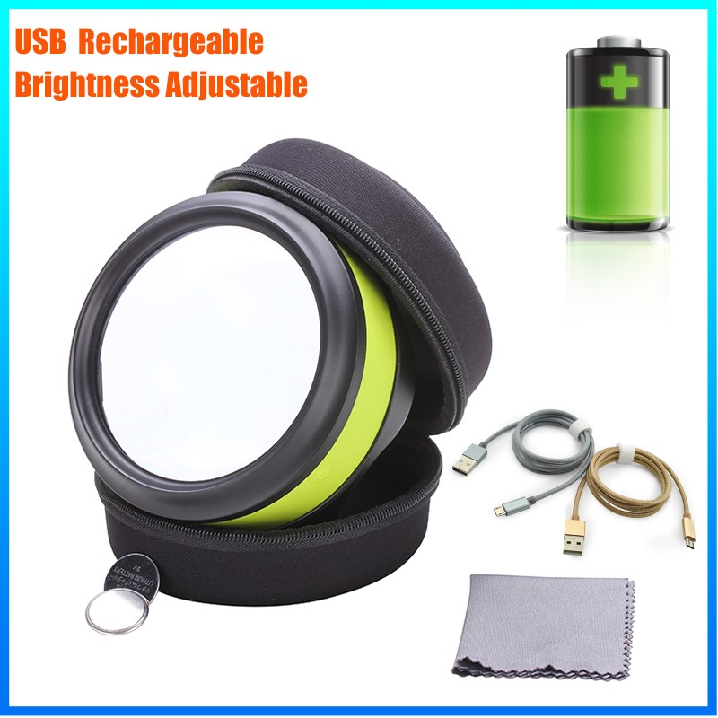 DH-86016 High Quality Promotional 5X Magnifier , Plastic Big Lens Magnifying Glass With Led Light For Reading