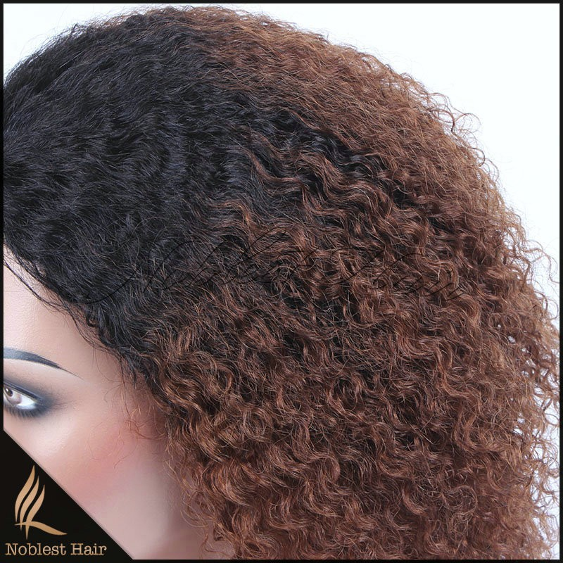 Best selling fashion popular short hair two tone color kinky curly hair wig