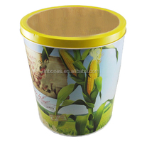 Wholesale large round metal packing popcorn tin container OEM