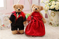 2016 Fashion plush wedding bear soft couple teddy bear with wedding dress