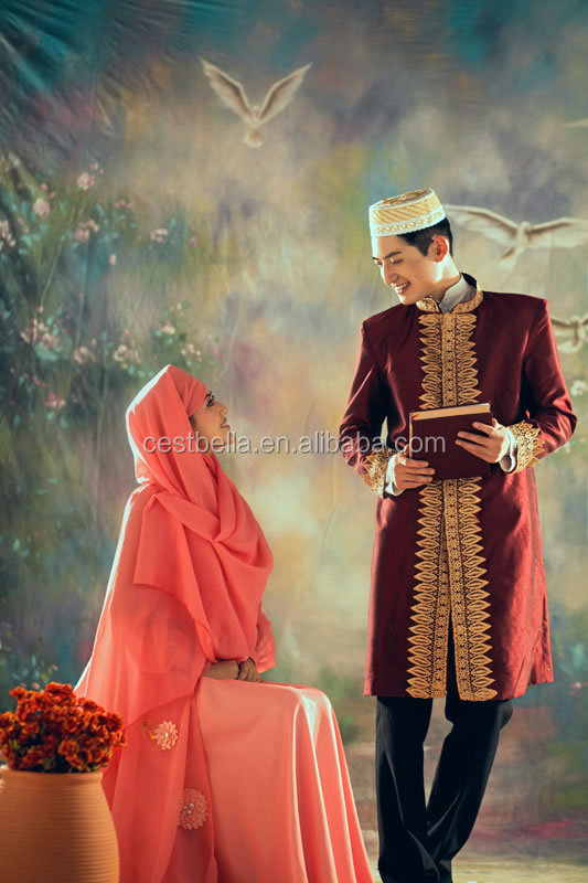 New style wedding dress suits for men Arabic Designs High Neck Long Sleeve Muslim hijab Wedding suits
