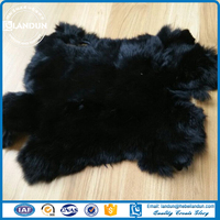 Black Real Genuine Rabbit Fur Skin Pelts for clothing