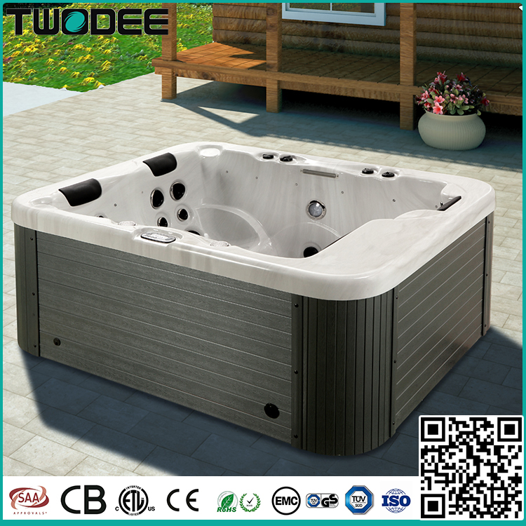 Luxury rectangular acrylic freestanding 3 person hydro massage indoor outdoor mini hot tub spa