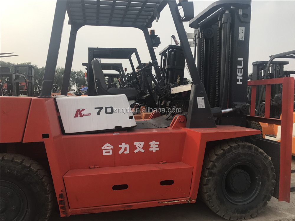 used diesel heli 7t forklift, chinese brand good condition forklift for sale,Used Double Mast Forklift Made in China