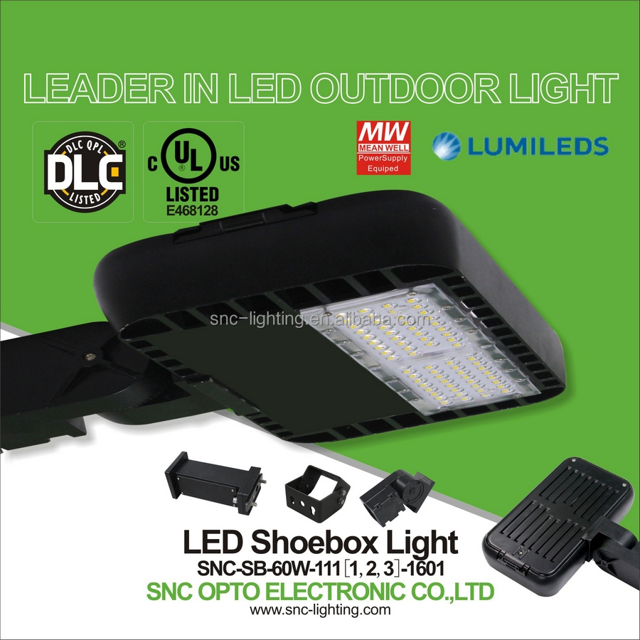 SNC best price DLC UL CUL listed led shoebox light 60w, lumileds chips led parking lot lighting