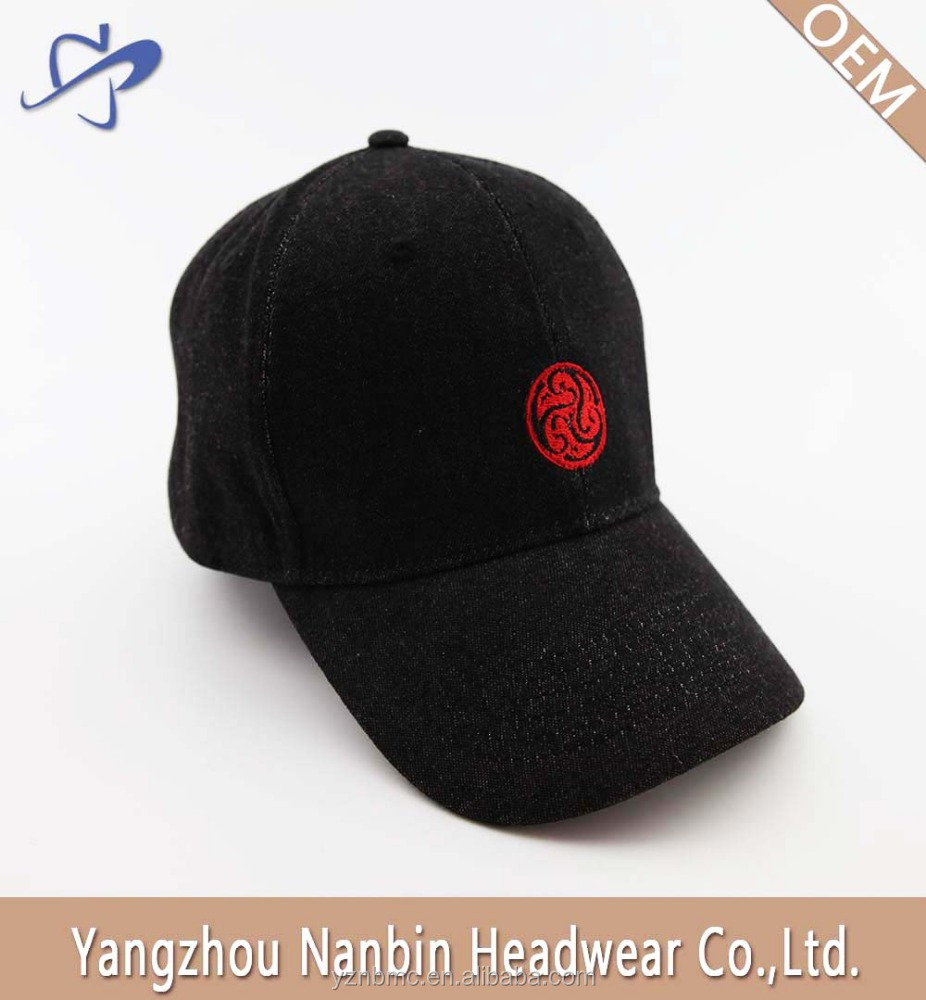 OEM jean baseball cap with flat embroidery for gift or advertisement