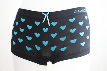 Ladies seamless boyleg with heart design, sexy underwear factory in China