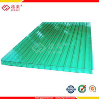 Green twin wall polycarbonate hollow sheet roof translucent polycarbonate panel