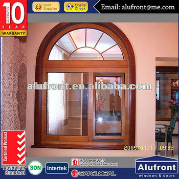 aluminium wood round top window with grilles design