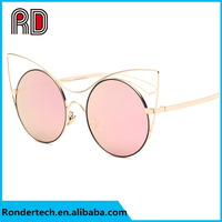 New arrival fashion high quality metal round polarized frame female retro Cat Eye Lightweight women sunglasses for summer