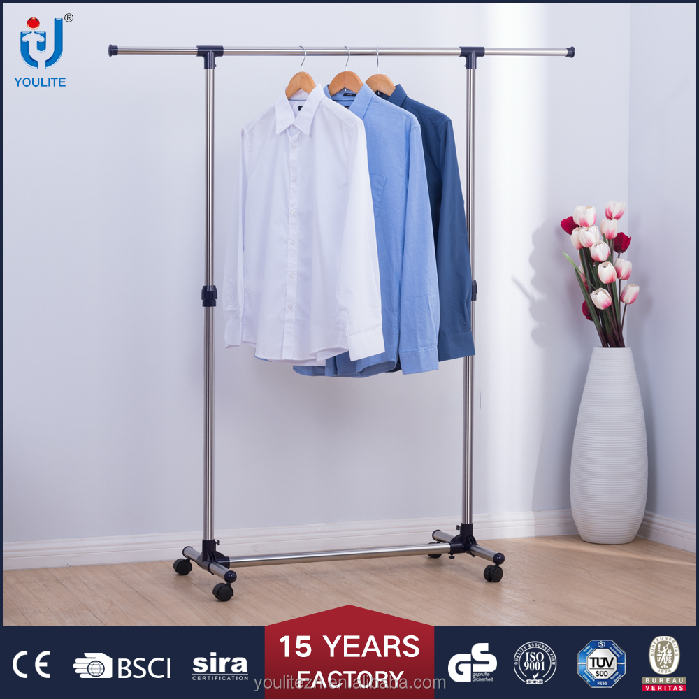 adjustable portable single pole telescopic clothes rack