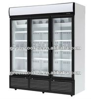 Upright showcase cooler/chiller with 3 glass door OEM factory China